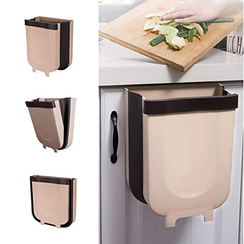 YUKE Cubos de Basura Plegable Bote de Basura Colgante Basurero Plegable Basura Extraible para la Cocina, Dormitorio y Coche, 9L, Marrón