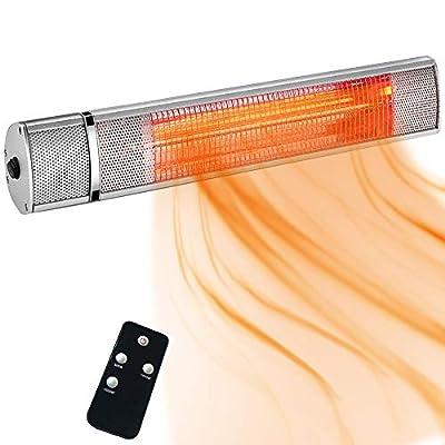 SURJUNY Electric Patio Heater, Indoor/Outdoor Wall-Mounted Patio Heater, Outdoor Heater with Remote Control, Golden Tube for Instant Warm, Super Quiet Operation, Dust&Waterproof IP65 Rated, T01