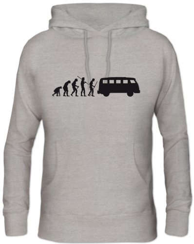 Preisvergleich Produktbild Shirtstreet24,  EVOLUTION KULT BUS,  Herren Kapuzen Sweatshirt Hoodie - Pullover,  Größe: M, Graumeliert