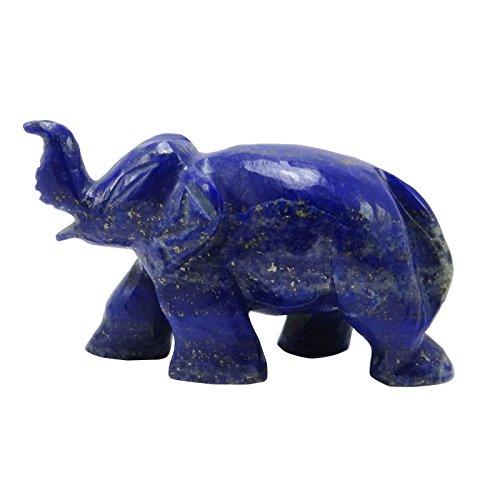 HARMONIZE Decorative Hand Carved Lapis Lazuli Meditation Balancing Gemstone Elephant Statue Reiki Healling Stone Table Décor Gift
