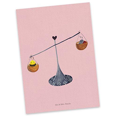 Mr. & Mrs. Panda Grußkarte, Karte, Postkarte Sternzeichen Waage - Farbe Rot Pastell