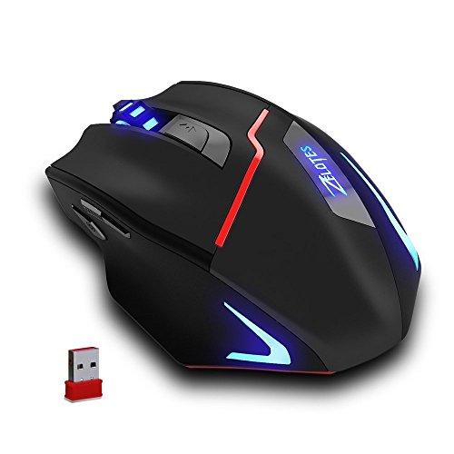 Zelotes Souris sans Fil Rechargeable, 2.4G Souris Wireless avec Récepteur Nano,3200DPI Wireless Mouse pour PC, Mac, Ordinateur Portable, Macbook, Noir