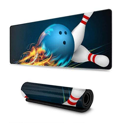 Größere Gaming Mauspad Rote Bowlingkugel mit Flammen wasserdichte Optimale Gleitfläche Anti Rutsch Gaming Matte Verbessert Präzision und Geschwindigkeit 800X300X3 mm