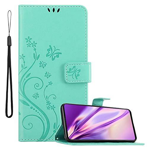 Cadorabo Hülle für Samsung Galaxy A71 in FLORAL TÜRKIS – Handyhülle im Blumen Design mit Magnetverschluss, Standfunktion und 3 Kartenfächern – Case Cover Schutzhülle Etui Tasche Book Klapp Style