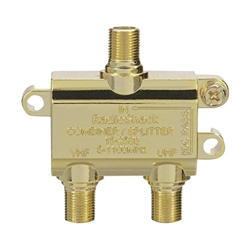 Radioshack 75-Ohm Coax VHF/UHF TV Signal Combiner #150-2586 with 24K Gold-Plated Connectors