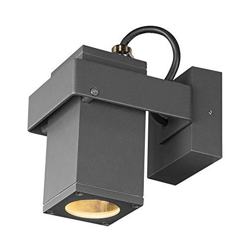 SLV Wand- und Deckenaufbauleuchte THEO BRACKET CW / Beleuchtung für Wände, Wege, Eingänge, LED Spot außen, Aufbau-Leuchte Outdoor, Gartenlampe, Decken-Strahler / GU10 IP65 7.0W anthrazit
