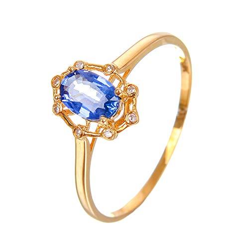 KnBoB Damen Hohl Ovalschliff Saphir Ringe 18K Gold Größe 56 (17.8)