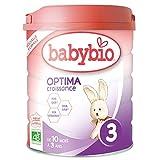Babybio OPTIMA 3 Croissance - 3ème âge dès 10 Mois - 800g - BIO Fabriqué en France & Lait français - Formule PREMIUM : DHA/ARA + FOS/GOS