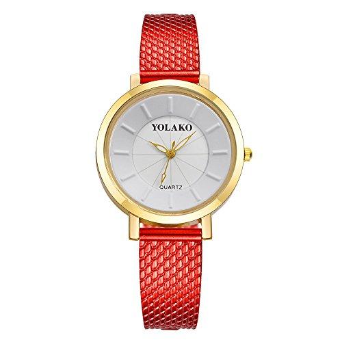 Luckhome dames horloges analoog kwarts mesh ultradun roestvrij staal waterdicht polshorloges kwartsarmband dameshorloge A-linie rot rood