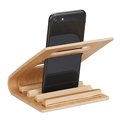 Relaxdays Handy Ständer, Tisch, Zuhause & Büro, Bambus, Mehrfach Halter, für Smartphone bis 7 cm breit, kompakt, natur
