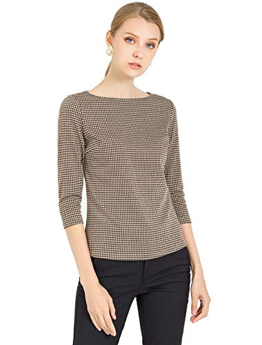 Allegra K Women's Work Office 3/4 Sleeve Boat Neck Houndstooth Printed Top Blouse X-Small Brown