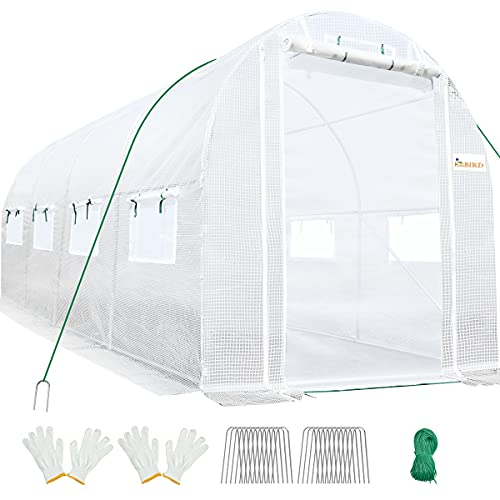 KING BIRD 15x6.6x6.6FT Upgraded Large Walk-in Greenhouse Heavy Duty Galvanized Steel Frame 2 Zippered Screen Doors 8 Screen Windows Tunnel Garden Plant Hot Green House 20 Stakes 4 Ropes 2 Gloves White