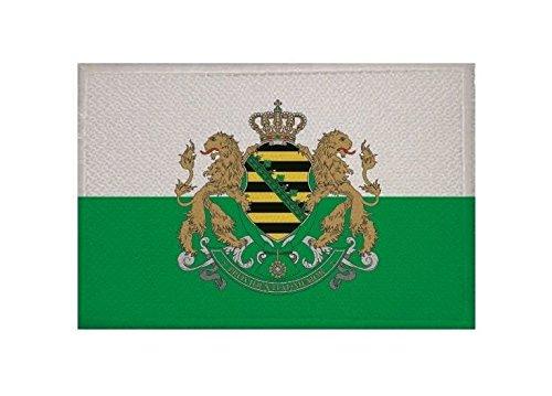 U24 Aufnäher Königreich Sachsen Fahne Flagge Aufbügler Patch 9 x 6 cm