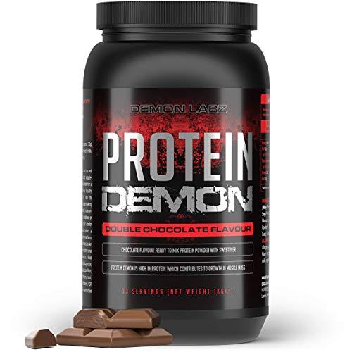 Protein Demon (Double Chocolate Flavour) - 80% Protein Shake - Whey, Milk and Soy Protein Powder - 1kg Tub