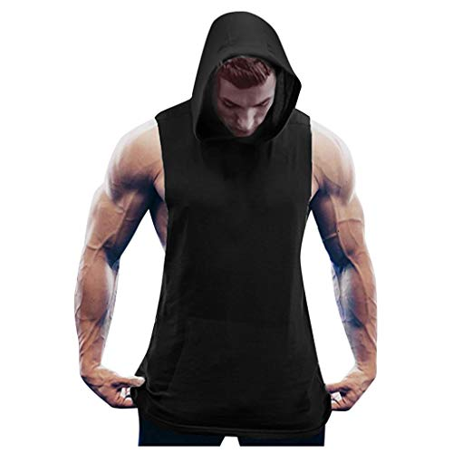 Men Fitness t Shirt Muscle Solid Sleeveless Hoodie Bodybuilding Tight-Drying Tops Black