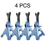 Buytm 4PCS Stabile Stellböcke Auto-Rad-Hebe Jack Ständer Auto Reifenstützrahmen 3T Pro Kapazität für Autos Auto Fahrzeuge Hebe (blau und schwarz)