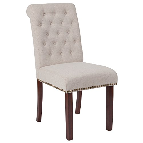 Flash Furniture HERCULES Series Beige Fabric Parsons Chair with Rolled Back, Accent Nail Trim and Walnut Finish
