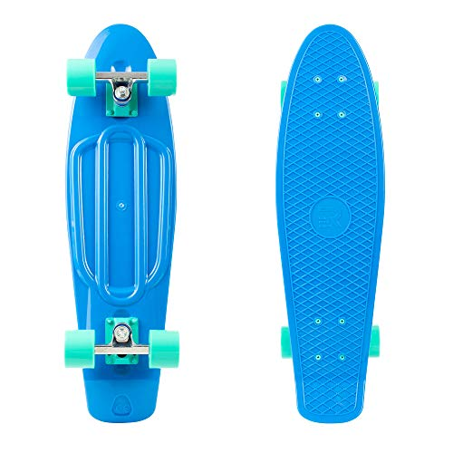 """Retrospec Quip Skateboard 22.5"""" Classic Retro Plastic Cruiser Complete Skateboard with Abec 7 bearings and PU wheels, Royal Blue (3172)"""