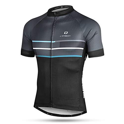 LAMEDA Kurzarm Radtrikot Fahrradtrikot Herren T-Shirt Jersey Radsport Funktionsshirt Elastische Atmungsaktive Schnell Trocknen Stoff(Blau L)