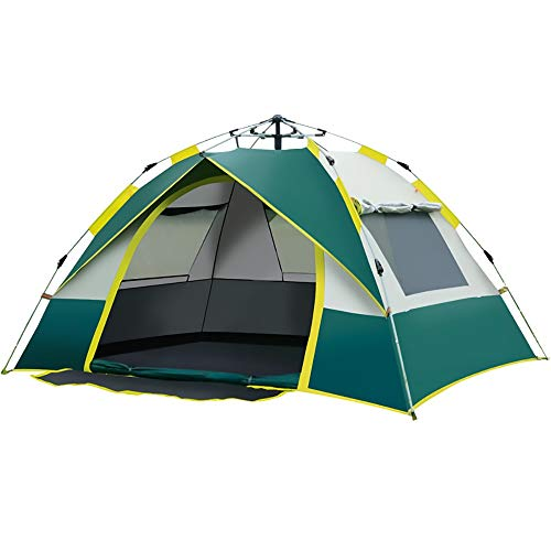 WER Camping Tent 2/3 Person Family Tent Double Deck Outdoor Tent Waterproof And Windproof UV (Color : Green, Size : 210 * 200 * 135CM)