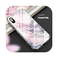 Yokkg 高級大理石ガラスカバーケースiPhoneX XS MAX XRXSガラスシリコン電話ケースiPhone7 8PlusケースiPhone6 S 6s-Crystal Pink-For iPhone 6 6s