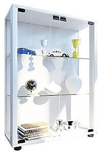 VCM 911996sintalo Vitrina Independiente sin iluminación LED Madera/Cristal Blanco 80x 60x 25cm