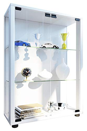 VCM 911996 Sammelvitrine Standvitrine Glasvitrine Glasregal Vitrine Glas Schaukasten ohne Beleuchtung Weiß
