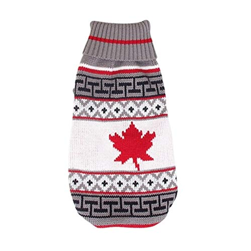 HAPPKING Christmas pet Clothes Christmas Reindeer Maple Leaf Snowflake Holiday pet Clothes Turtleneck Knitted Sweater Dog cat Costume Winter Coat (Farbe : Grey Maple Leaf, Größe : 3-5KG)