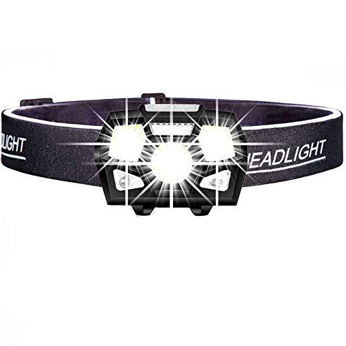 Hehuanxiao - Linterna frontal LED de 7000 lúmenes, sensor de movimiento, ultrabrillante de casco duro con linterna de cabeza