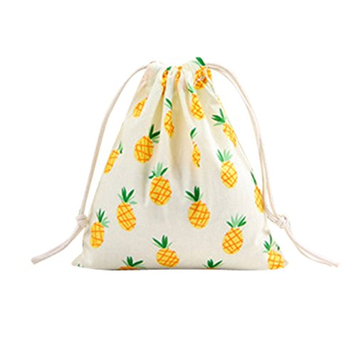 For Sale! Leaf2you Drawstring Grocery Bags Linen Printed Storage Pouch Bag for Sport Home Activity