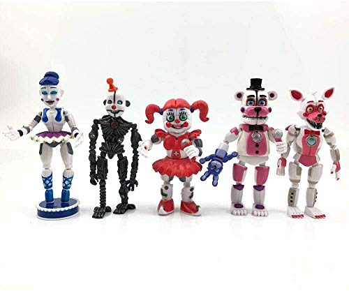 VITADAN Toys Unique New Inspired by Five Nights at Freddy's Sister Set of 5 pcs, More Than 5 inches [Funtime Freddy, Circus Baby, Enard, Belora, Funtime Foxy]