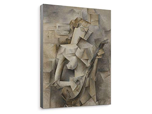 """Niwo ART - Girl with a Mandolin, Pablo Picasso Oil Painting Reproduction, Canvas Wall Art Home Decor, Gallery Wrapped, Stretched, Framed Ready to Hang (30""""x20""""x1.5"""")"""
