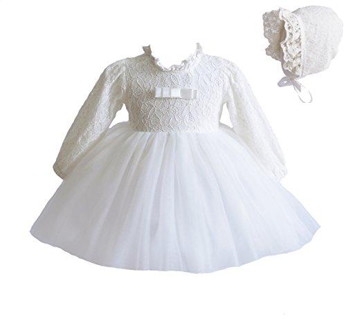 Cinda Baby-Lange Hülsen-Spitze-Tauf-Party-Kleid und Mütze 62-68 Elfenbein