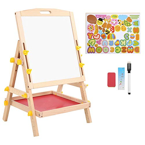 Ejoyous Children's Board, painting board, children's board Magnetic wooden standing board with storage compartment, chalk board Adjustable children's painting board, children's easel gift