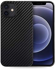 doupi UltraSlim fodral kompatibelt för iPhone 12/iPhone 12 Pro (6,1 tum), kolfiberutseende ultratunn mobiltelefonfodral skydd skal hårt skal skyddande kolfiberoptik svart