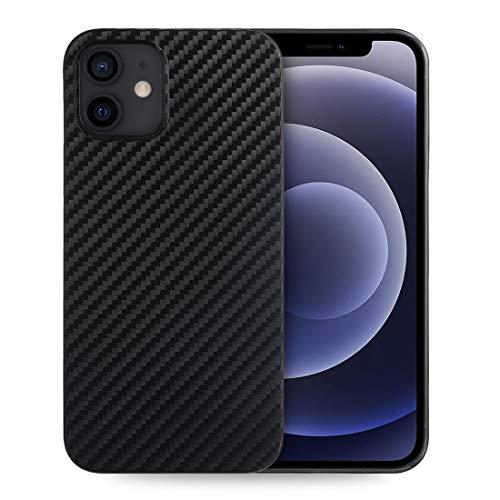 doupi UltraSlim Hülle kompatibel für iPhone 12 / iPhone 12 Pro (6,1 Zoll), Carbon Fiber Erscheinungsbild Ultra Dünn Handyhülle Cover Bumper Schutz Schale Hard Hülle Schutzhülle, Kohlefaser Optik schwarz