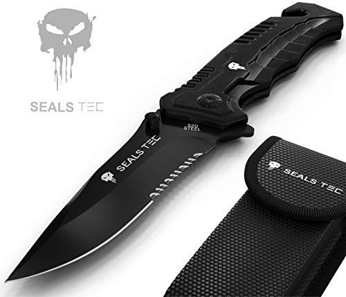 sealstec® Original Full Metal JS 8,5cm Klinge mit Tasche | Klappmesser - Zweihandmesser | Camping - Jagd - Outdoor - Survival - Messer | extra scharf | Modell: JS 21 Säge - Klinge