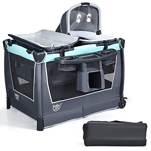 COSTWAY 4 in 1 Foldable Travel Cot, Portable Baby Bed Playpen with Bassinet, Changing Table, Cradle, Music Box, Wheels and Carry Bag, Nursery Center for Boys and Girls (Mint Green)