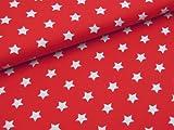 0,5m Stoff Sterne groß in rot/ weiß Motivgröße 2cm