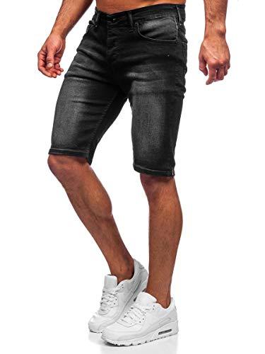 BOLF Hombre Pantalón Corto Vaquero Pantalones Vaqueros Denim Shorts Pantalón de Algodón Sombreado Estilo Diario RWX 3036 Negro M [7G7]