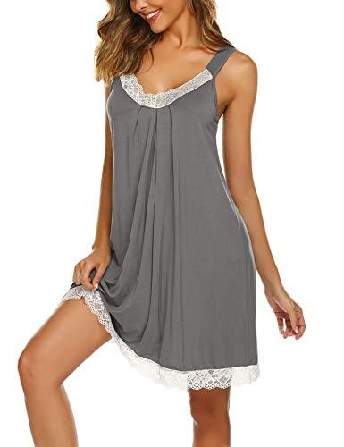 Ekouaer Women Lace Lingerie Soft Cotton Sleepwear Chemises V-Neck Full Slip Babydoll Nightgown Dress Grey