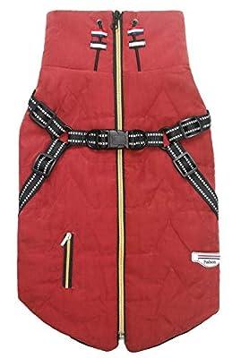 Geyecete pet Outdoorfront clothing,Dog Coat Waterproof Winter Jacket Warm Vest Dog Clothes Dog Coat Warm Winter-Red-M