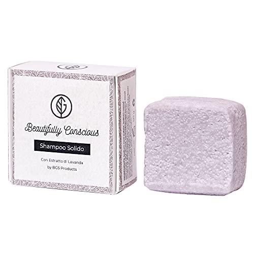 Shampoo Solido Bio Purificante e Nutriente Lavanda per Capelli, 100% Artigianale Biologico Italiano Naturale Vegano Ecologico