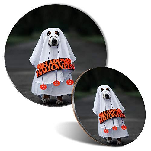 Juego de alfombrilla de ratn y posavasos  Disfraz de perro fantasma de Halloween de 20 cm y 9 cm para ordenador y porttil, oficina, regalo, base antideslizante #45145