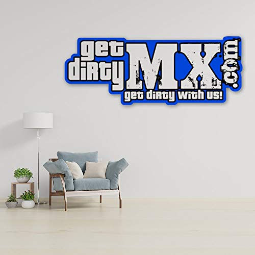 DKISEE Adhesivo de pared azul con texto 'Get Dirty' para decoración del hogar, cuarto de estar, oficina, cuarto de baño