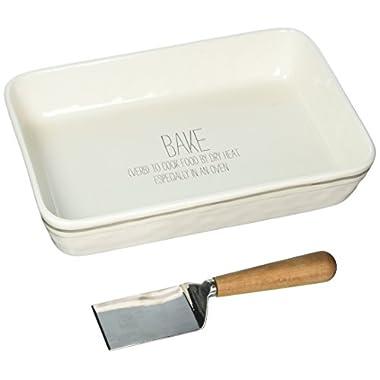 Mud Pie 4804010 Ceramic Baking Dish, White