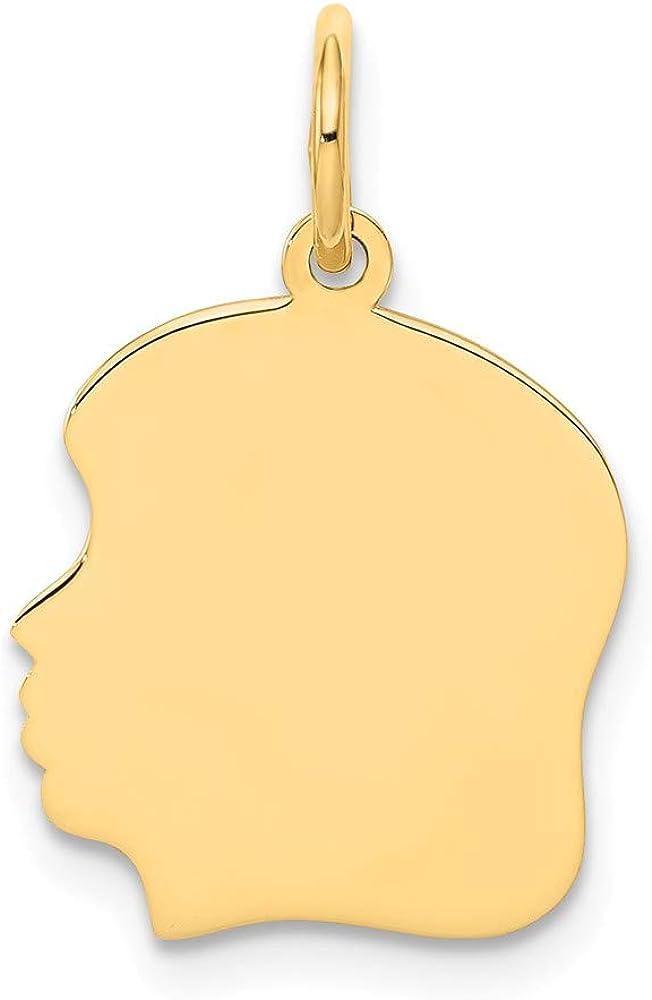 Solid 14k Yellow Gold Plain Medium .009 Gauge Facing Left Engravable Girl Head Charm Pendant - 22mm x 13mm