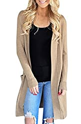 50%OFF Sherrylily Womens Open Front Long Cardigans Long Sleeve Solid Color Pockets