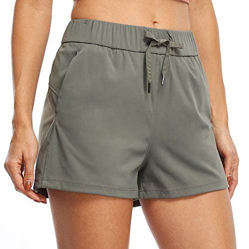 Willit Women's Yoga Lounge Shorts Hiking Active Running Workout Shorts Comfy Travel Casual Shorts with Pockets 2.5' Olive Green M