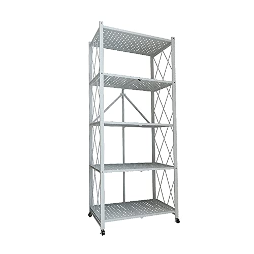 Folding Storage Shelves,Multifunctional Shelving Unit,for Garage Storage Rack Kitchen Shelves Laundry Bathroom/White / 72x36.5x160.5cm